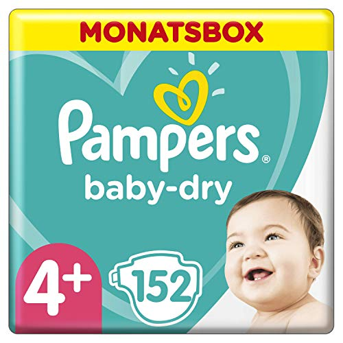 Pampers Baby-Dry Windeln, Gr. 4+, 10kg-15kg, Monatsbox (1 x 152 Windeln)