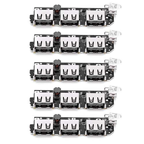 YOPOTIKA 5 Unidades de Módulo de Cargador de Banco de Energía 3USB DIY Placa de Circuito Móvil Componente Electrónico 5V2.1A