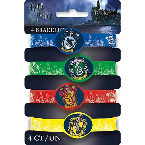 Unique Party 59068 Regalitos para Fiesta Pulseras Elásticas de Harry Potter Paquete de 4