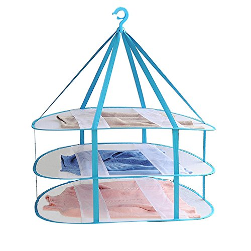 Adwaita Large Size 3-Tier Folded Mesh Clothes Hanging Dryer T-Shirt/Sweater Drying Rack 30.3' L x 24.5' W x 30.7' H