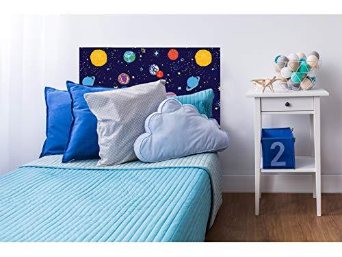 Cabecero Cama Cartón Ecológico Nido de Abeja Infantil Planetas Impresión Digital 90x60 cm | Varias Medidas | Cabecero Ligero, Elegante, Resistente y Económico |