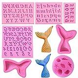 Woohome 7 Pz Molde de Silicona para Fondant Moldes para Caramelos Letra Número Molde de Sirena para Decorar Tartas, Chocolate, Dulces, Hornear
