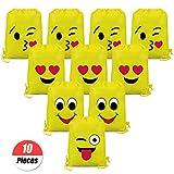 YuChiSX Emoji Turnbeutel für Kinder (10 Stück),Emoji Sporttaschen Geschenktüte Partytüten...