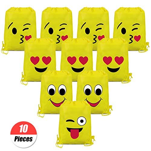 YuChiSX Emoji Turnbeutel für Kinder (10 Stück),Emoji Sporttaschen Geschenktüte Partytüten Waschbar Kinder-Rucksack für Kindergeburtstag Gastgeschenk Party Weihnachten