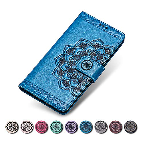 KKEIKO Huawei Honor 6C Hülle, Huawei Honor 6C Leder Handyhülle Schutzhülle, Blume Muster Stoßsichere Lederhülle Brieftasche Flip Case für Huawei Honor 6C - Blau