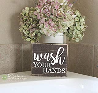 Emily Wash Your Hands Mini Block Bathroom Decor Quotes Hand Painted Wood Signs with Quotes Home Plaque