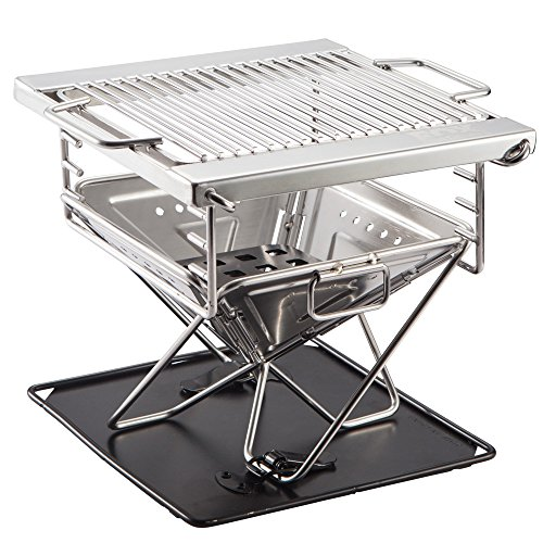 Quick Grill Small: Original Folding Charcoal BBQ Grill Made from Stainless Steel. Portable and Great for Camping, Picnics, Backpacking, Backyards, Survival, Emergency Preparation.