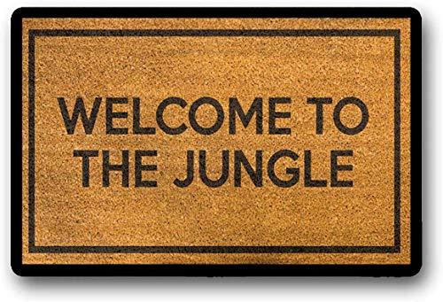 Solatman - Felpudo con texto en inglés «Welcome to The Jungle Guns N Roses», diseño de pistolas y rosas, 45 x 75 cm, látex no tejido, 45 x 207 cm