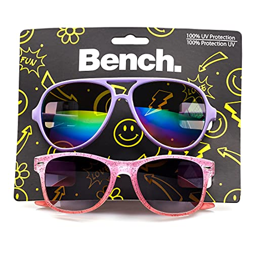 BENCH Kinder-Sonnenbrille, 2 Stück, UV-Schutz 400, (Lila & Pink Glitter), Einheitsgröße