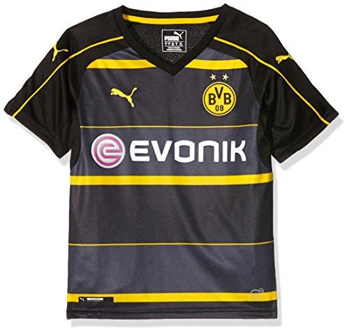 PUMA Kinder Trikot BVB Away Replica Shirt with Sponsor Logo, black-cyber yellow, 128, 749830 02