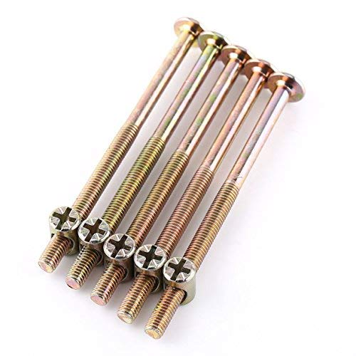 M6 Möbelschrauben 40 mm/ 60 mm/ 80 mm/ 90 mm/ 100 mm, verzinkter Karbonstahl, mit Zylindermuttern, Dübelmuttern, Steckerhalterung, 10 Stück, TRTA000717