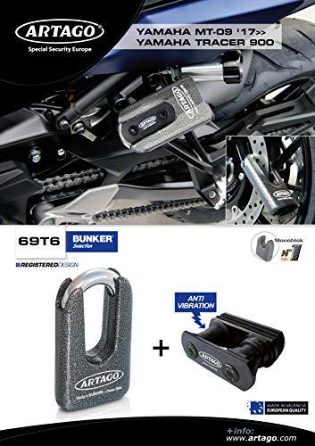 Artago 69T6 diefstalbeveiliging, hoge kwaliteit en houder Yamaha MT-09 en Tracer 900, toegelaten Sra, Sold Secure Gold, ART4, metaal