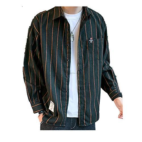 NOBRAND - Camisa de manga larga a rayas para hombre Verde verde XXXXXL