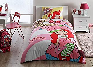 Strawberry Shortcake Cute Bedding Duvet Cover Set New Licensed 100% Cotton / S. Shortcake Twin Size Duvet Cover Set / S. Shortcake Bedding Set 3 PCS