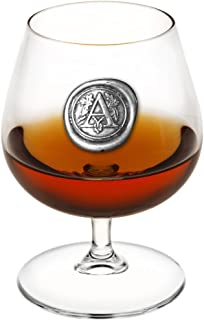 English Pewter Company 14.5oz Brandy Cognac Snifter Glass With Monogram Initial - Unique Gifts For Men - Personalized Gift With Your Choice of Initial (A) [MON201]
