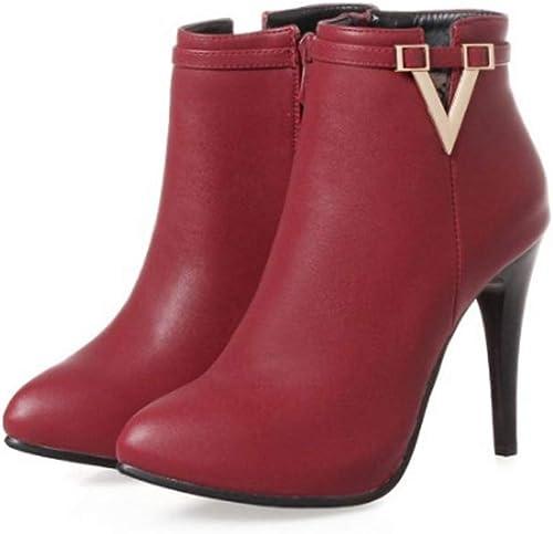 Zrf cómodo Antideslizante botas Cortas de tacón Alto de otoño e Invierno botas Cortas botas Cortas botas Altas Resistente al Calor (Color   rojo, Tamaño   38)