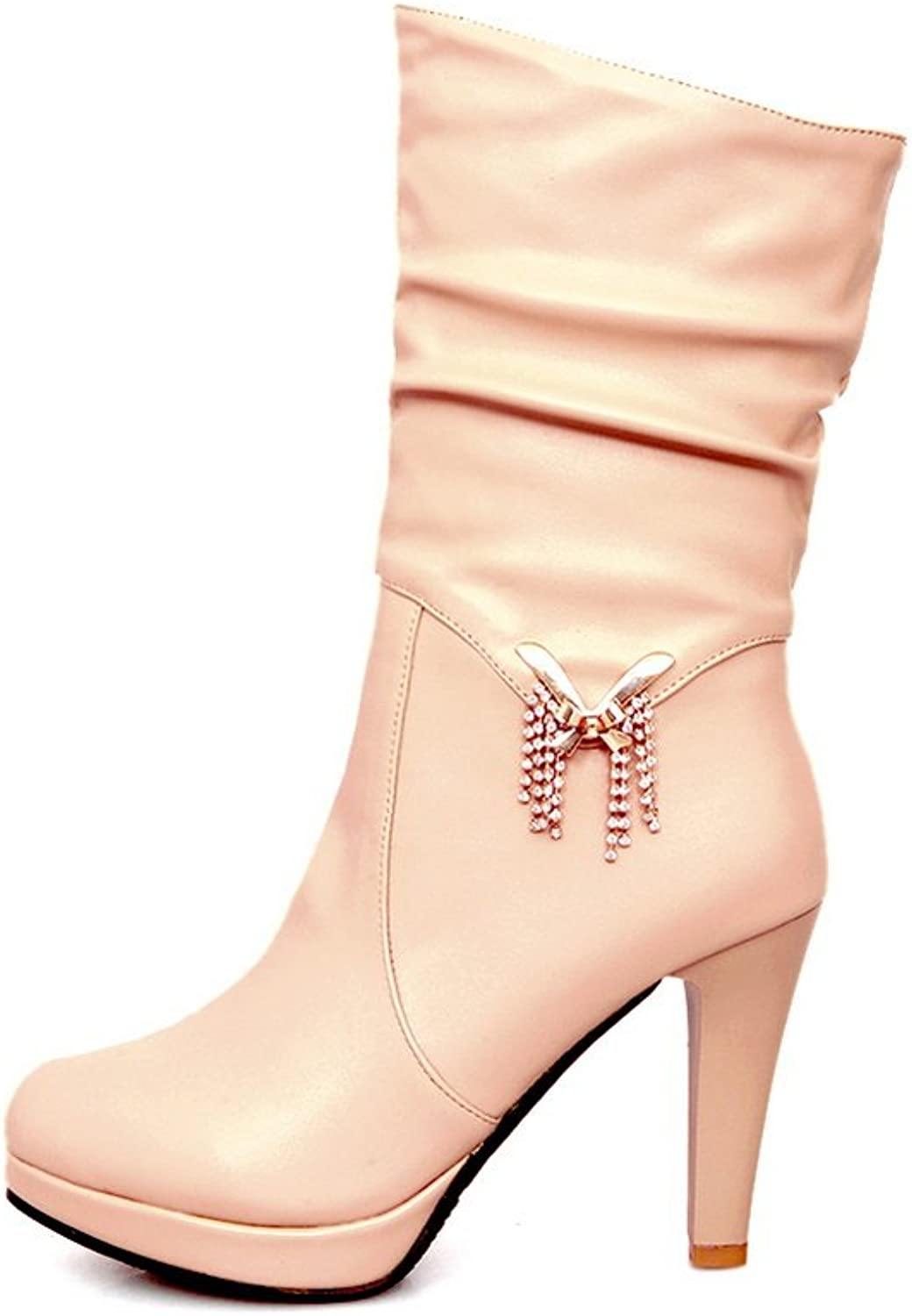 QueenFashion Women's Sweet Style Solid High Heels Ankle Boots with Metalornament and Rhinestones