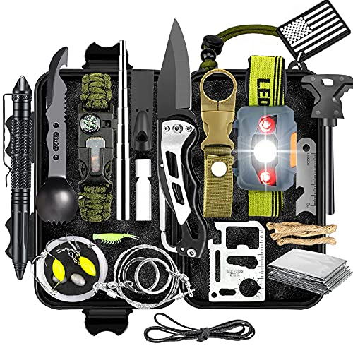 KAUTO Survival Kit, professionelle Notfall-Überlebensausrüstung und Ausrüstung für Outdoor-Camping-Abenteuer Wandern Tolle Geschenke für Männer Frauen Ehemann Freund Boy