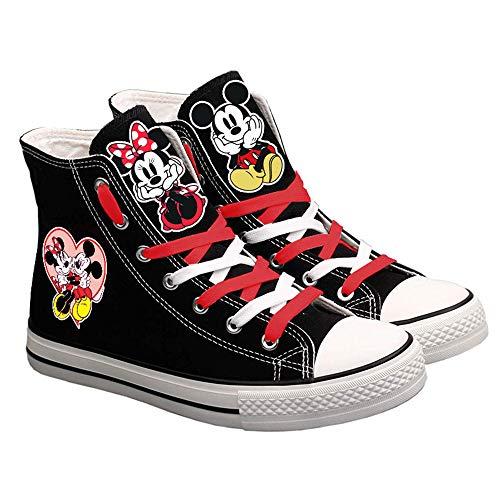 Mickey Mouse Unisex-Segeltuchschuhe Hi-Top Light Sneakers Modische Schnürschuhe-1