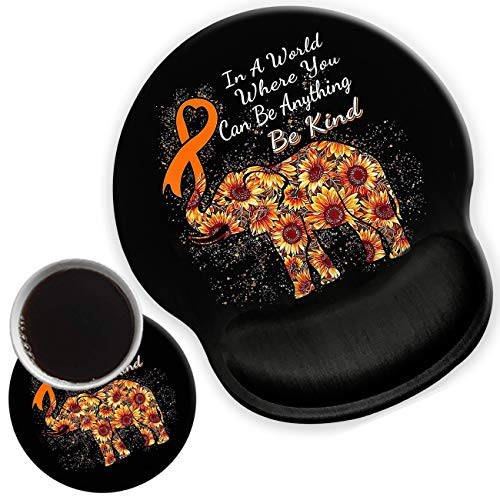 Ergonomic Mouse Pad with Gel Wrist Support for Home Office Efficient Working, Non-Slip Comfortable Mousepad for Easy Typing Pain Relief Elephant Sunflower Inspirational Quote