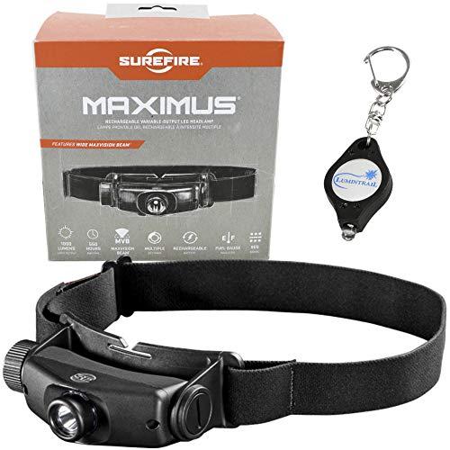 SureFire Maximus Rechargeable Variable-Output LED Headlamp 1000 Lumen HS3-A-BK Bundle with a Lumintrail Keychain Light