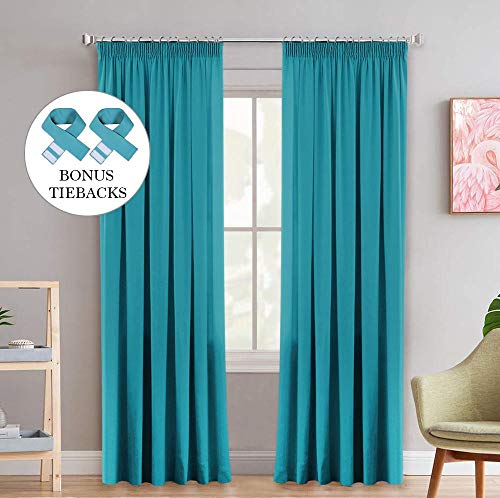 2 Panels Extra Wide Blackout Curtains Soft Solid Thermal Insulated Pencil Pleat Window Treatments Privacy Protect Bedroom Curtains - Teal, Energy Saving & Noise Reducting, 90' Width x 90' Drop
