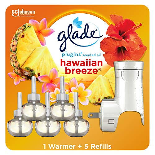 Glade PlugIns Refills Air Freshener Starter Kit, Scented Oil for Home and Bathroom, Hawaiian Breeze 3.35 Fl Oz, 1 Warmer + 5 Refills