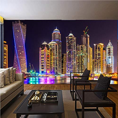 VVNASD 3D Dekorationen Tapete Wand Wandbilder Aufkleber Schöne Dubai Night City Urban Living Room Bedside Background Persönlichkeit Kunst Kinder Küche (W) 300X(H) 210Cm