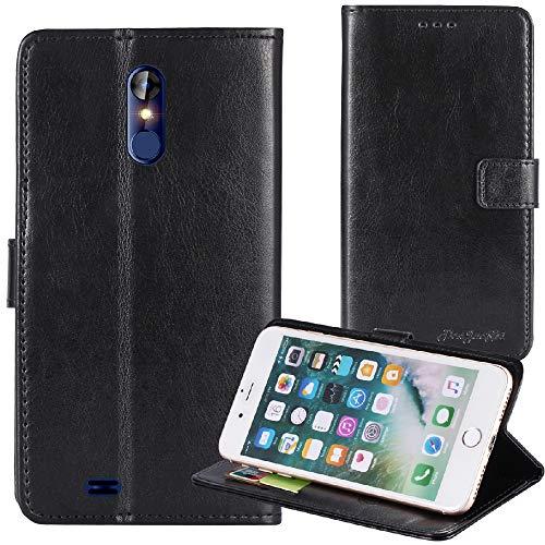 TienJueShi Noir Flip Premium Retro Business Support à Rabat Cuir Housse Magnétique Téléphone Coque pour Logicom Le Hop 6.18 inch Étui Cas Couverture Protecteur Case Cover