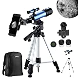 Aomekie Kids Telescopes for Astronomy Beginners Refractor Telescope with Adjustable Tripod 10X Phone