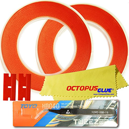 Octopus Glue 2pcs Rolls of 2mm x 30m Clear Double Sided Adhesive Tape (Type 4910 Red Backing) with ESD Anti-Static Tweezer, Microfiber Cloth & 2 Plastic Razor Blades for Phone LCD, Digitizer Repair