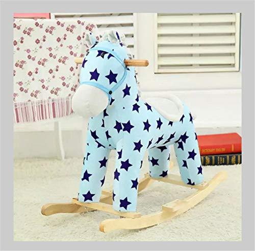 BIANJESUS kinderspeelgoed, bruin ridder paard schommel pluche voor kinderen 1-3 jaar, hout schommelpaard/knuffeldier/baby schommelpaard/outdoor schommelpaard