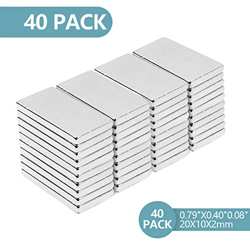 Neodym Magnete,Super Stark Neodym Viereckig Ziegel Magnete 20 x 10 x 2 mm, N52 NdFeB Rare Earth Permanentmagnet für DIY Building Craft Office (40PC)