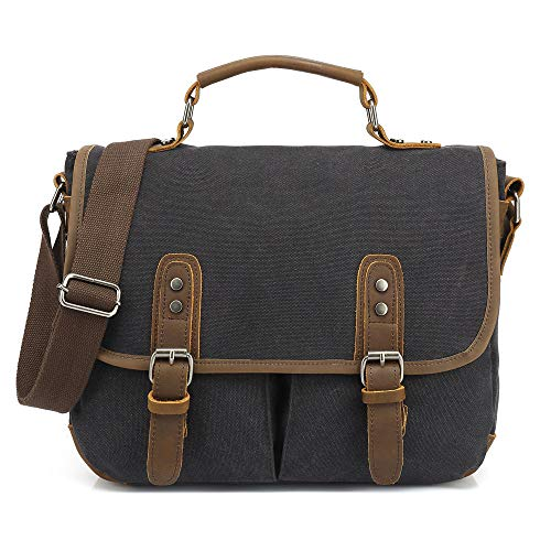 SDINAZ New Vintage Messenger Bag Satchel College Bag canvas bag Schoolbag Casual Travel Shoulder Bag Multipurpose Men/Women Canvas UK963 Black