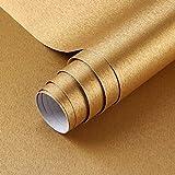 Klebefolie Metall Optik Selbstklebende Folie Golden Gebürstet Möbelfolie 60x500 cm PVC Dekofolie Küchenfolie für Kühlschrank Küchenschränke Küchenrückwand Tür Möbel Haushaltsgeräte Deko