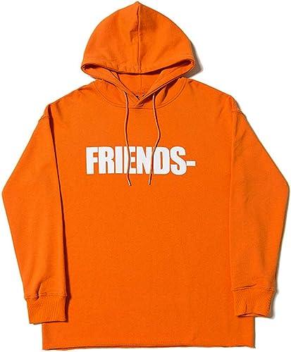 chandail Pull à Capuche avec Deux Gros V Lettre Orange et Violet,Orange,L