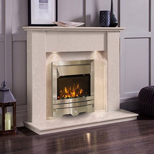 Cream Marble Stone Modern Surround Wall Electric LED Fireplace Suite Silver Electric Fire & Downlights