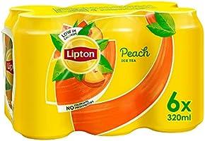 Lipton Peach Ice Tea, Non-Carbonated Low Calories Refreshing Drink,320mlx6