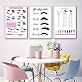 Beauty Salon Wall Art Decor Eyelash Extension Guide Posters Lash Extension Form Canvas Print Painting Decor Eyelash Technician Forms Modern Picture for Bedroom Women 20x28x3 inch No Frame