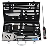 ROMANTICIST 21pc BBQ Grill Accessories Set with Thermometer - Heavy Duty Stainless Steel Barbecue Grilling Utensils with Non-slip Handle in Aluminum Storage Case - Ideal Birthday Gift for Men