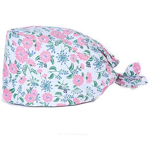 TENDYCOCO Doctor Surgical Scub Caps Flamingo Print Scrub Hat Surgery Cap Adjustable Nurse Hat Working Head Wrap
