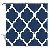 eikleom Marineblau Vierpass-Muster Duschvorhang 180x 180cm wasserdicht Polyester