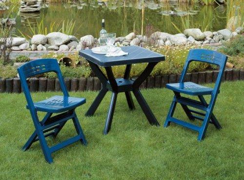 Gartenmöbel Set Reno 3-teilig klappar Kunststoff blau