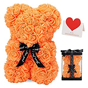 Silk Flower Arrangements LINKLO Rose Bear Rose Teddy Bear -10 inch Artificial Rose Flower Bear, Gift for Valentines Day, Wedding, Mothers Day and Anniversary, Including Transparent Gift Box (Orange)