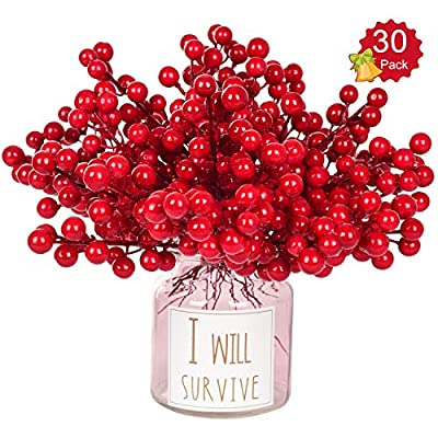 Lvydec 16pcs Glittery Artificial Berry Picks for Home Christmas Wreath Decor