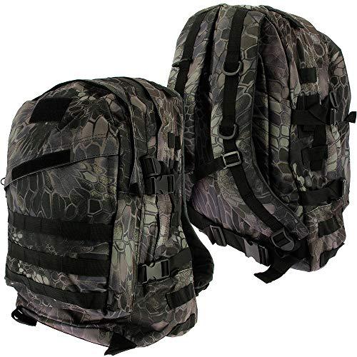 Golan - Zaino Militare tattico Militare, 36 l, per Campeggio, Escursionismo, Trekking, Scuola, Nero Mimetico