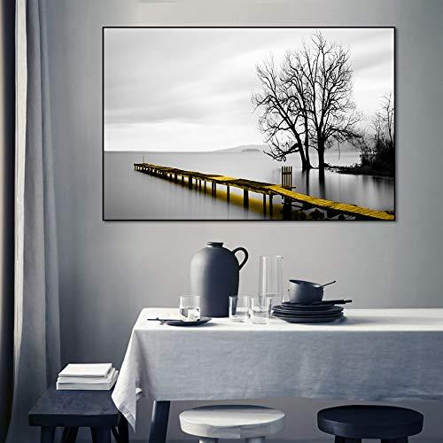 tzxdbh Modern Landscape Bridge Lakeside Scene Canvas Schilderij Posters en Prints Muurkunst Foto's voor Woonkamer Interieur Home Decor-in Schilderij & Kalligrafie van 60x80 cm No Frame