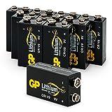 GP Lithium 9V Block Batterien, 9 Volt Lithium Li-MnO2, 10 Jahres Batterie Longlife (10 Stück 9v Block Lithium) ideal z.B. als Rauchmelder Batterie, für Feuermelder, Mikrofone etc