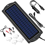 Solar Battery Maintainer, 3.5W 12V Solar Trickle Charger for Car Battery, Portable