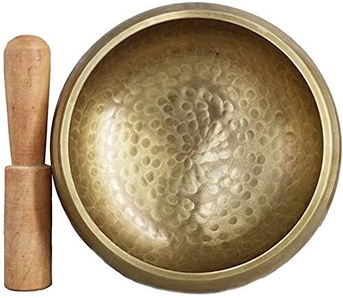 GEFI Tibetan Sonido CUCHA Brass Sonido Cup MEDITACIÓN Zen Yoga Taza DE Madera ADRÁN Y ALMOWOW 8.5 CM